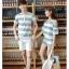 เสื้อคู่รัก ชายเสื้อแขนสั้น + หญิงเสื้อแขนสั้น พร้อมกางเกงขาสั้น แต่งลายเทาขาว +พร้อมส่ง+ thumbnail 10