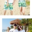 เสื้อคู่รัก ชุดคู่รักเที่ยวทะเลชาย +หญิง เสื้อยืดสีขาวลายคู่รักสวีทพระอาทิพย์ตกดิน กางเกงขาสั้นโทนสีเขียว +พร้อมส่ง+ thumbnail 8