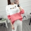 เสื้อแขนยาวแฟชั่นพร้อมส่ง เสื้อแขนยาวแต่งสีขาวสลับชมพู แต่งสกรีน ฝูงแมว +พร้อมส่ง+ thumbnail 4