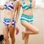 พร้อมส่ง ชุดว่ายน้ำบิกินี่ทูพีซ สไตล์สปอร์ตเกิร์ล กางเกงขาสั้น ลายขวางสลับสีสวย thumbnail 3