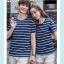 +พร้อมส่ง+ เสื้อคู่รักเกาหลี แฟชั่นคู่รัก ชายหญิง เสื้อยืดคอกลม ลายริ้ว สีน้ำเงินสลับขาว thumbnail 6