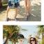 เสื้อคู่รัก ชุดคู่รักเที่ยวทะเลชาย +หญิง เสื้อยืดสีขาวลายคนติดเกาะ กางเกงขาสั้นลายต้นมะพร้าวโทนสีฟ้า +พร้อมส่ง+ thumbnail 5