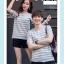 +พร้อมส่ง+ เสื้อคู่รักเกาหลี แฟชั่นคู่รัก ชายหญิง เสื้อยืดคอกลม ลายริ้ว สีเทาสลับขาว thumbnail 5
