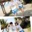 เสื้อคู่รัก ชุดคู่รักเที่ยวทะเลชาย +หญิง เสื้อยืดสีขาวลายคู่รักสวีทพระอาทิพย์ตกดิน กางเกงขาสั้นลายแฉกโทนสีฟ้า +พร้อมส่ง+ thumbnail 3