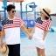 ชุดคู่ เสื้อคู่รัก ชายเสื้อยืด + หญิงเดรสจั้มเอว สีขาว แต่งลายธงชาติอเมริกา +พร้อมส่ง+ thumbnail 1