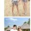 เสื้อคู่รัก ชุดคู่รักเที่ยวทะเลชาย +หญิง เสื้อยืดสีขาวลายหนวด กางเกงขาสั้นลายตารางดำขาว +พร้อมส่ง+ thumbnail 4