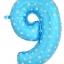 """ลูกโป่งฟอยล์รูปตัวเลข 9 สีฟ้าพิมพ์ลายดาว ไซส์จัมโบ้ 40 นิ้ว - Number 9 Shape Foil Balloon Size 40"""" Blue Color printing Star thumbnail 1"""