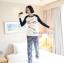 กางเกงคลุมท้องขายาว ลายขวาง : สีน้ำเงิน-ขาว รหัส PN098 thumbnail 3