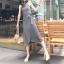 เสื้อผ้าแฟชั่นสไตส์เกาหลี เดรสยาวแขนกุด ลายริ้วสีดำขาว +พร้อมส่ง+ thumbnail 11