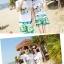 เสื้อคู่รัก ชุดคู่รักเที่ยวทะเลชาย +หญิง เสื้อยืดสีขาวลายคู่รักสวีทพระอาทิพย์ตกดิน กางเกงขาสั้นโทนสีเขียว +พร้อมส่ง+ thumbnail 6