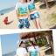 เสื้อคู่รัก ชุดคู่รักเที่ยวทะเลชาย +หญิง เสื้อยืดสีขาวลายคู่รักนอนตากแดด กางเกงขาสั้นลายแฉกโทนสีฟ้า +พร้อมส่ง+ thumbnail 10