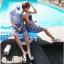 PRE ชุดว่ายน้ำคู่รัก ชุดว่ายน้ำบิกินี่ ลายโบฮีเมียนสีกรมท่า สายคล้องคอ พร้อมชุดคลุมลายสวย thumbnail 12