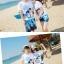 เสื้อคู่รัก ชุดคู่รักเที่ยวทะเลชาย +หญิง เสื้อยืดสีขาวลายสวีทริมทะเล กางเกงขาสั้นลายต้นมะพร้าวโทนสีฟ้า +พร้อมส่ง+ thumbnail 11