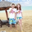 เสื้อคู่รัก ชุดคู่รักเที่ยวทะเลชาย +หญิง เสื้อยืดสีขาวลาย LO VE กางเกงขาสั้นลายต้นมะพร้าว +พร้อมส่ง+ thumbnail 2