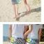 เสื้อคู่รัก ชุดคู่รักเที่ยวทะเลชาย +หญิง เสื้อยืดสีขาวลายคู่รักสวีทพระอาทิพย์ตกดิน กางเกงขาสั้นลายเส้น +พร้อมส่ง+ thumbnail 5