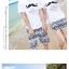 เสื้อคู่รัก ชุดคู่รักเที่ยวทะเลชาย +หญิง เสื้อยืดสีขาวลายหนวด กางเกงขาสั้นลายไทยสีดำ +พร้อมส่ง+ thumbnail 8