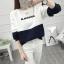 เสื้อแขนยาวแฟชั่นพร้อมส่ง เสื้อแขนยาวแต่งสีขาวสลับกรม แต่งสกรีน BLANGSUGE +พร้อมส่ง+ thumbnail 2