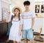 เสื้อคู่รัก แฟชั่นคู่รัก ชายเสื้อยืดคอกลม + เดรสคอกลม สีขาว แต่งลายไทย +พร้อมส่ง thumbnail 1