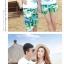 เสื้อคู่รัก ชุดคู่รักเที่ยวทะเลชาย +หญิง เสื้อยืดสีขาวลายเกาะทะเล กางเกงขาสั้นสีเขียว +พร้อมส่ง+ thumbnail 7