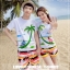 เสื้อคู่รัก ชุดคู่รักเที่ยวทะเลชาย +หญิง เสื้อยืดสีขาวคนนั่งใต้ต้นมะพร้าว กางเกงขาสั้นลายแถบสี +พร้อมส่ง+ thumbnail 2