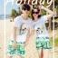 เสื้อคู่รัก ชุดคู่รักเที่ยวทะเลชาย +หญิง เสื้อยืดสีขาวลายคู่รักสวีทพระอาทิพย์ตกดิน กางเกงขาสั้นโทนสีเขียว +พร้อมส่ง+ thumbnail 2