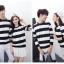 เสื้อแขนยาวคู่รัก เสื้อผ้าแฟชั่น ชาย +หญิง เสื้อแขนยาว รายริ้ว แต่งสีดำสลับสีขาว +พร้อมส่ง+ thumbnail 8