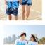 เสื้อคู่รัก ชุดคู่รักเที่ยวทะเลชาย +หญิง เสื้อยืดสีขาวลายคู่รักสวีทเที่ยวทะเล กางเกงขาสั้นลายต้นมะพร้าวโทนสีฟ้า +พร้อมส่ง+ thumbnail 3