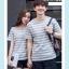 +พร้อมส่ง+ เสื้อคู่รักเกาหลี แฟชั่นคู่รัก ชายหญิง เสื้อยืดคอกลม ลายริ้ว สีเทาสลับขาว thumbnail 6