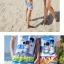 เสื้อคู่รัก ชุดคู่รักเที่ยวทะเลชาย +หญิง เสื้อยืดสีขาวลายสวีทริมทะเล กางเกงขาสั้นลายไทยโทนสีส้ม +พร้อมส่ง+ thumbnail 6