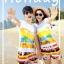 เสื้อคู่รัก ชุดคู่รักเที่ยวทะเลชาย +หญิง เสื้อยืดสีขาวลายคู่รักขับรถเที่ยวชายหาด กางเกงขาสั้นลายแถบสี +พร้อมส่ง+ thumbnail 2