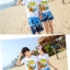 เสื้อคู่รัก ชุดคู่รักเที่ยวทะเลชาย +หญิง เสื้อยืดสีขาวลายต้นมะพร้าวลอยน้ำ กางเกงขาสั้นลายแฉกโทนสีฟ้า +พร้อมส่ง+ thumbnail 3
