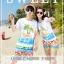เสื้อคู่รัก ชุดคู่รักเที่ยวทะเลชาย +หญิง เสื้อยืดสีขาวลายคนติดเกาะ กางเกงขาสั้นลายไทยโทนสีส้ม +พร้อมส่ง+ thumbnail 2