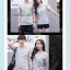 +พร้อมส่ง+ เสื้อคู่รักเกาหลี แฟชั่นคู่รัก ชายหญิง เสื้อยืดคอกลม ลายริ้ว สีเทาสลับขาว thumbnail 7