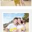 เสื้อคู่รัก ชุดคู่รักเที่ยวทะเลชาย +หญิง เสื้อยืดสีขาวลายคนยืนดูท้องฟ้า กางเกงขาสั้นลายอีโมสีเหลือง +พร้อมส่ง+ thumbnail 2