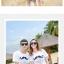 เสื้อคู่รัก ชุดคู่รักเที่ยวทะเลชาย +หญิง เสื้อยืดสีขาวลายหนวด กางเกงขาสั้นลายตารางดำขาว +พร้อมส่ง+ thumbnail 3