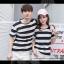 +พร้อมส่ง+ เสื้อคู่รักเกาหลี แฟชั่นคู่รัก ชายหญิง เสื้อยืดคอกลม ลายริ้วใหญ่ สีดำสลับขาว thumbnail 8