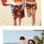 เสื้อคู่รัก ชุดคู่รักเที่ยวทะเลชาย +หญิง เสื้อยืดสีขาวลายคู่รักนอนตากแดด กางเกงขาสั้นลายพระอาทิตย์โทนสีส้ม +พร้อมส่ง+ thumbnail 4