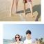 เสื้อคู่รัก ชุดคู่รักเที่ยวทะเลชาย +หญิง เสื้อยืดสีขาวลายคู่รักขับรถเที่ยวชายหาด กางเกงขาสั้นลายพระอาทิตย์โทนสีส้ม +พร้อมส่ง+ thumbnail 5