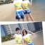 เสื้อคู่รัก ชุดคู่รักเที่ยวทะเลชาย +หญิง เสื้อยืดสีขาวลายคู่รักขับรถเที่ยวชายหาด กางเกงขาสั้นลายต้นมะพร้าวโทนสีฟ้า +พร้อมส่ง+ thumbnail 2