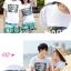 เสื้อคู่รัก ชุดคู่รักเที่ยวทะเลชาย +หญิง เสื้อยืดสีขาวลายตัวอักษร กางเกงขาสั้นลายสีเขียว +พร้อมส่ง+ thumbnail 2