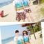 เสื้อคู่รัก ชุดคู่รักเที่ยวทะเลชาย +หญิง เสื้อยืดสีขาวลายคู่รักนอนตากแดด กางเกงขาสั้นลายพระอาทิตย์โทนสีส้ม +พร้อมส่ง+ thumbnail 5