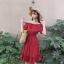 เสื้อผ้าแฟชั่นสไตส์เกาหลี เดรสเกาะอก สีแดง แต่งจั้มเอว +พร้อมส่ง+ thumbnail 5