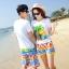 เสื้อคู่รัก ชุดคู่รักเที่ยวทะเลชาย +หญิง เสื้อยืดสีขาวลายต้นมะพร้าว กางเกงขาสั้นลายไทยโทนสีส้ม +พร้อมส่ง+ thumbnail 2