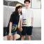 แฟชั่นคู่รัก ชายเสื้อยืดคอกลม สีขาว + หญิง เสื้อคอกลม สีดำ แต่งแถบมุมขวา กับด้านหลัง +พร้อมส่ง+ thumbnail 8