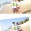 เสื้อคู่รัก ชุดคู่รักเที่ยวทะเลชาย +หญิง เสื้อยืดสีขาวลายต้นมะพร้าว กางเกงขาสั้นลายพระอาทิตย์โทนสีส้ม +พร้อมส่ง+ thumbnail 3