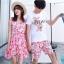 ชุดเสื้อคู่รักเที่ยวทะเล ชายเสื้อยืดพร้อมกางเกงขาสั้น + เดรสแขนกุด สีชมพู แต่งลายดอกไม้ +พร้อมส่ง thumbnail 4