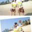 เสื้อคู่รัก ชุดคู่รักเที่ยวทะเลชาย +หญิง เสื้อยืดสีขาวลายคู่รักขับรถเที่ยวชายหาด กางเกงขาสั้นลายพระอาทิตย์โทนสีส้ม +พร้อมส่ง+ thumbnail 6