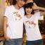 เสื้อยืดคู่รัก แฟชั่นคู่รัก ชาย + หญิง เสื้อยืดแขนสั้น เสื้อสีขาว สกรีนลายม้าเงินนำโชค +พร้อมส่ง+ thumbnail 2