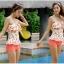 ชุดว่ายน้ำสีส้มโอรส กางเกงขาสั้น เสื้อแต่งระบายที่อก ลายเบอร์รี่สีสันสวยสด thumbnail 2
