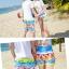 เสื้อคู่รัก ชุดคู่รักเที่ยวทะเลชาย +หญิง เสื้อยืดสีขาวลายคนติดเกาะ กางเกงขาสั้นลายไทยโทนสีส้ม +พร้อมส่ง+ thumbnail 7